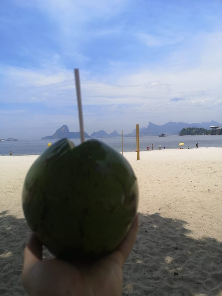 Enjoying Coconut water on the beach